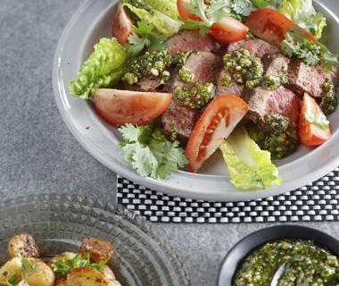 Biefstuk met koriander-cashewpesto