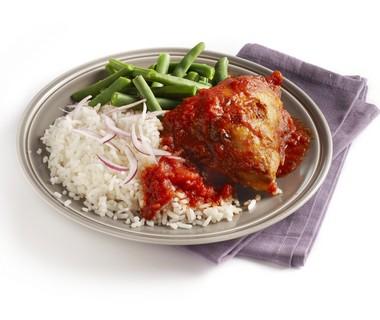 Kip piripiri met rijst en sperziebonen