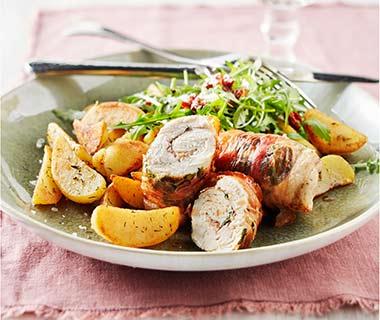 Kipsaltimbocca met aardappeltjes en rucola