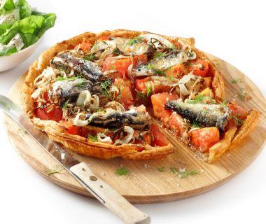 Tomatentaart met sardines