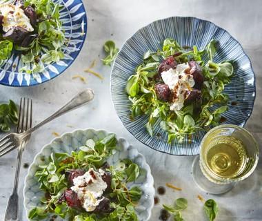 Lauwwarme bietensalade met ricotta