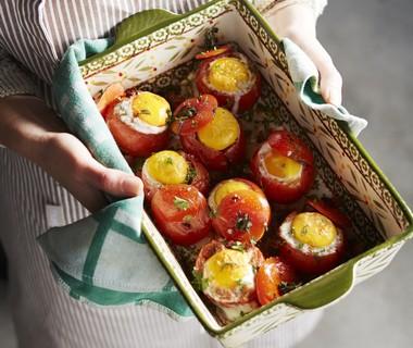 Provençaalse tomaten met spiegelei uit de oven