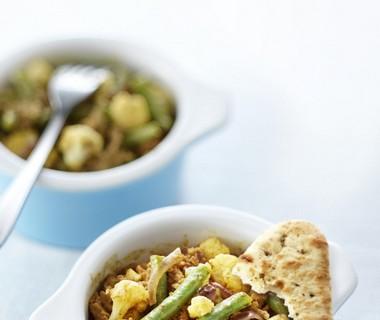 Currygehakt met knapperige groenten