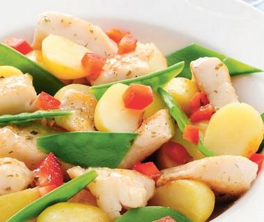 Lauwwarme aardappelsalade met vis