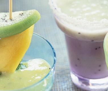 Milkshake met kiwi, banaan en kokosmelk