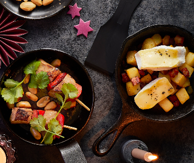 Brie-raclette met aardappel, spek en ui