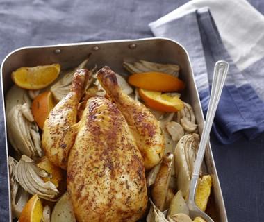 Kip uit de oven met sinaasappel en venkel