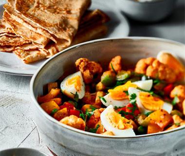Pannenkoek met vega curry