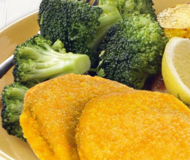 Broccoli met aardappelschijfjes en cordon bleu