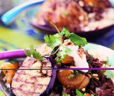 Aubergines met gehakt en couscous