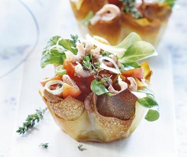 Tomatentaartje met Hollandse garnalen