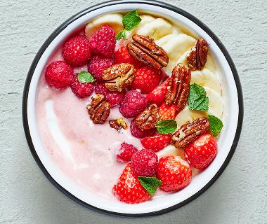 Pink strawberry-pecan bowl