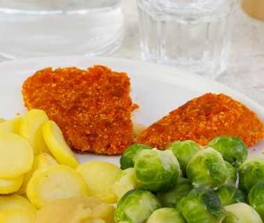 Cordon bleu met aardappelschijfjes en spruiten
