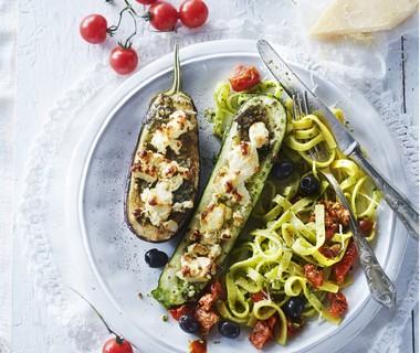 Gevulde groenten met feta en pesto