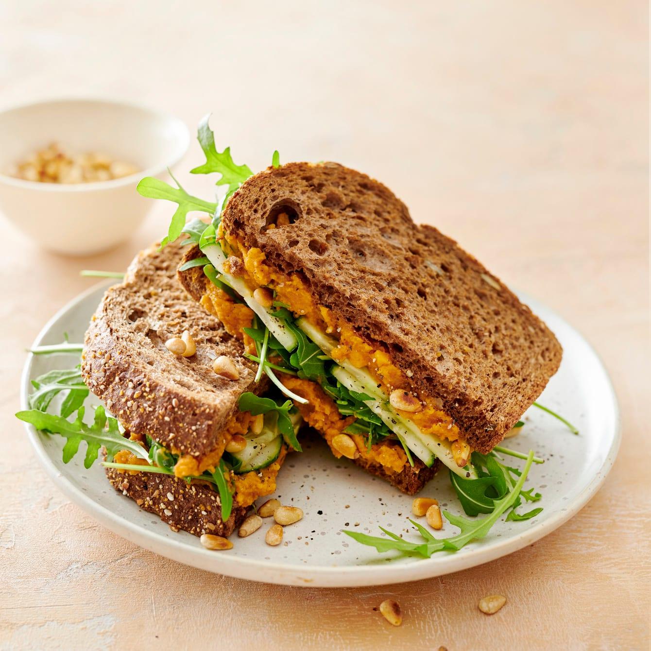 Sandwich met zoete aardappelspread