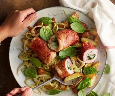 Involtini met gorgonzola en spinazie