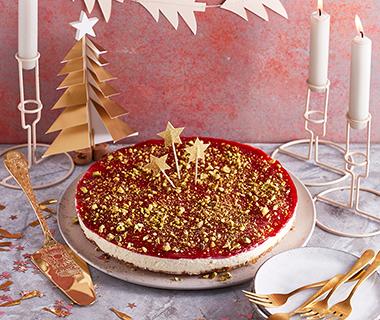Vanille-cheesecake met cranberry