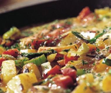 Tortilla met aardappel en knoflookworst