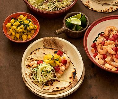 Taco's met garnalen en limoen