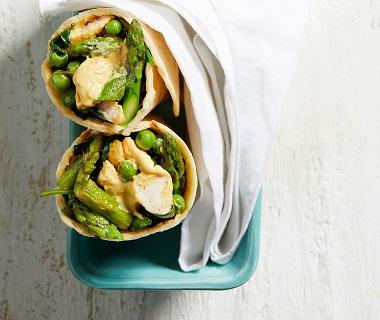 Wrap met romige kip en groene groenten