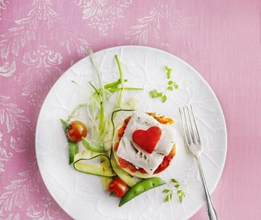 Kabeljauwtaartje met geroosterde groenten