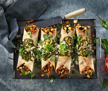 Enchilada's met spinazie en vegetarische kip