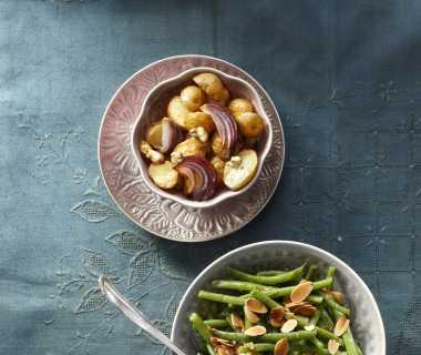Rode aardappels met laurier en spek