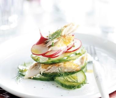 Gestapeld taartje van gerookte makreel, komkommer en radijs