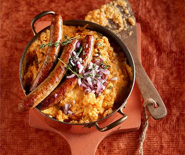 Zoete-aardappelstamppot met knolselderij, appel en tijm