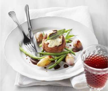 Beefmedaillons met gorgonzola en sjalottenjus