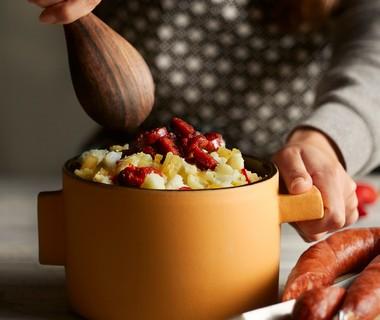 Spicy bloemkoolstamppot met krokante chorizo