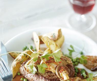 Biefstuk met oesterzwammen en rodewijnsaus