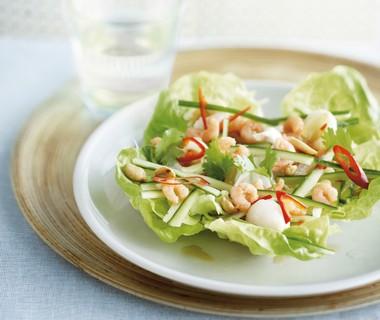 Salade met lychees en garnalen