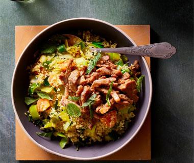 Shoarma met prei en couscous