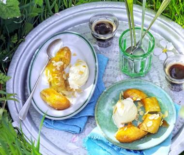 Banaan met karamelsaus, naar idee van Yvette