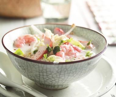 Thaise soep met kip en garnalen