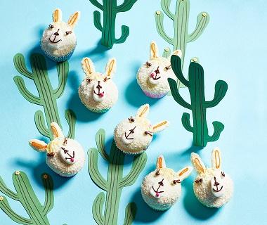 Lama-muffins met witte chocolade en kokos