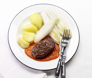 Biefstuk met paprikasaus