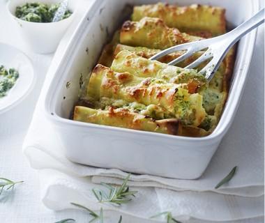 Cannelloni met basilicum-rozemarijnpesto