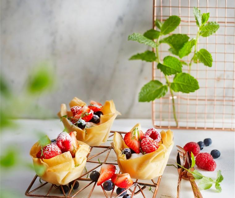 Fruitsaladebakjes met mascarpone