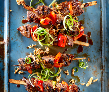 Aziatische biefstukspiesjes