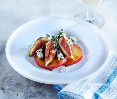 Appel met blauwe kaas en vijgen