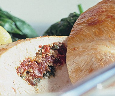 Gevulde kipfilet op z'n Italiaans met spinazie
