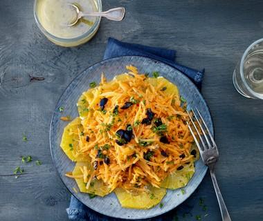 Wortelsalade met sinaasappeldressing en komijn