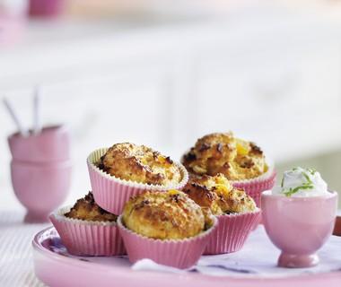 Maïsbroodmuffins met abrikozen, amandel en limoenricotta