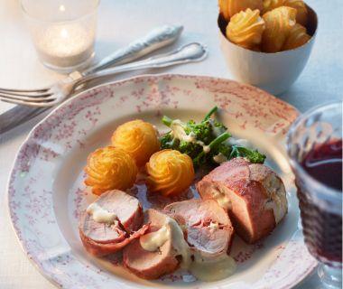 Varkenshaas met rauwe ham en roquefort