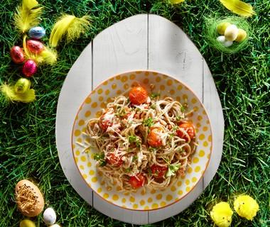 Spaghetti carbonara met tomaatjes