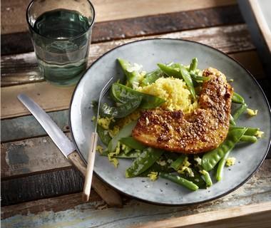 Spek met honing, sesam en groene groenten