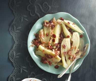 Gestoofde venkel met pancetta en cranberry's