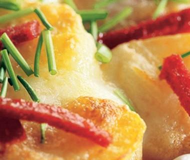 Tomaten-aardappelgratin met  Italiaanse kazen